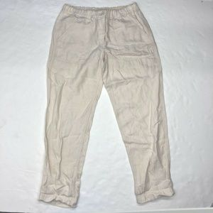 J.Crew Beige Cream Linen Blend Cropped Ankle Pants